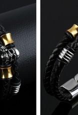 Grooveman Bracelet   Leather Skull and Gold