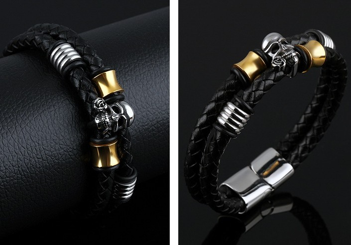 Grooveman Bracelet | Leather Skull and Gold