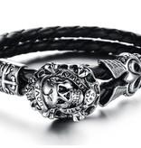 Grooveman Bracelet   Leather Skull Love Kills
