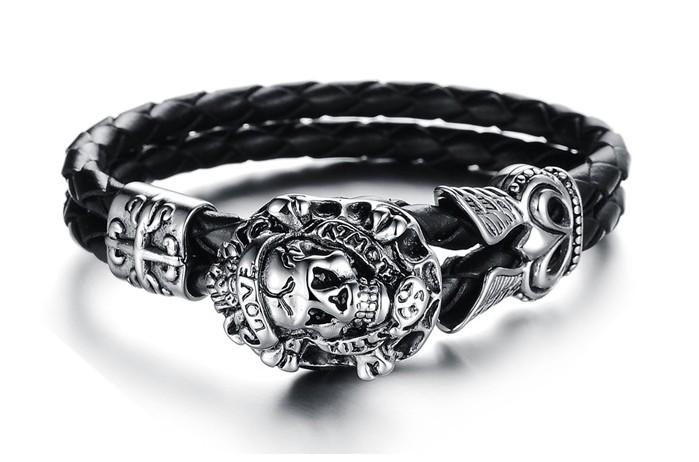 Grooveman Bracelet | Leather Skull Love Kills
