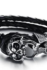Grooveman Bracelet | Leather Skull with Black Diamond