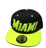 Grooveman Embroidered Hat   Miami Black Neon Yellow