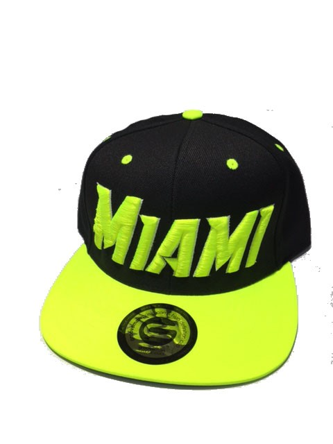 Grooveman Embroidered Hat | Miami Black Neon Yellow