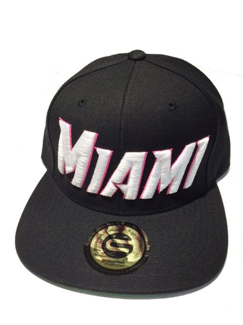 Grooveman Embroidered Hat | Miami Blk White Pink