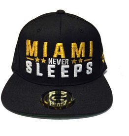 Grooveman Embroidered Hat | Miami Never Sleep Gold,White