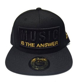 Grooveman Embroidered Hat | Music is the Answer Blk Gold