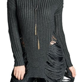 London Round Neck Frayed Sweater