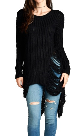 London Round Neck Frayed Sweater