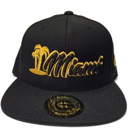 Grooveman Embroidered Hat | Miami Palm Gold