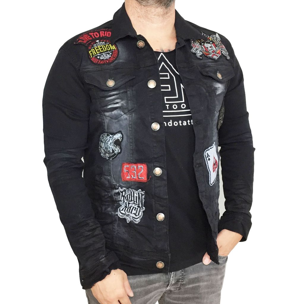 Copper Rivet Patch Biker Jacket