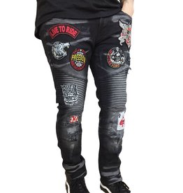 Copper Rivet Patch Biker Denim