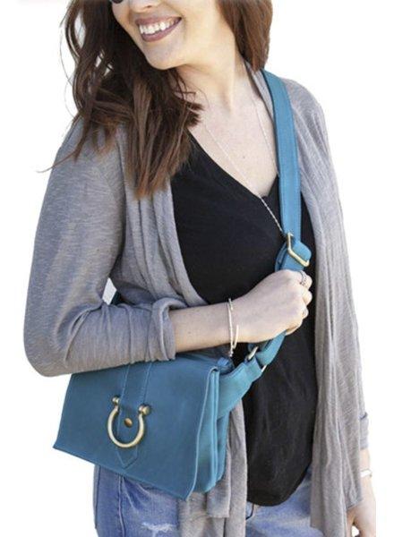 """Sapahn Leather """"Sarah Ann"""" Crossbody In Turquoise"""
