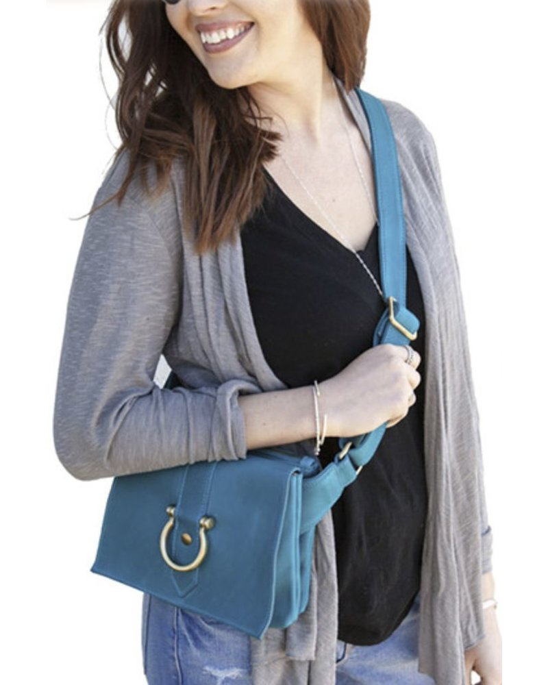 "Sapahn Leather ""Sarah Ann"" Crossbody In Turquoise"