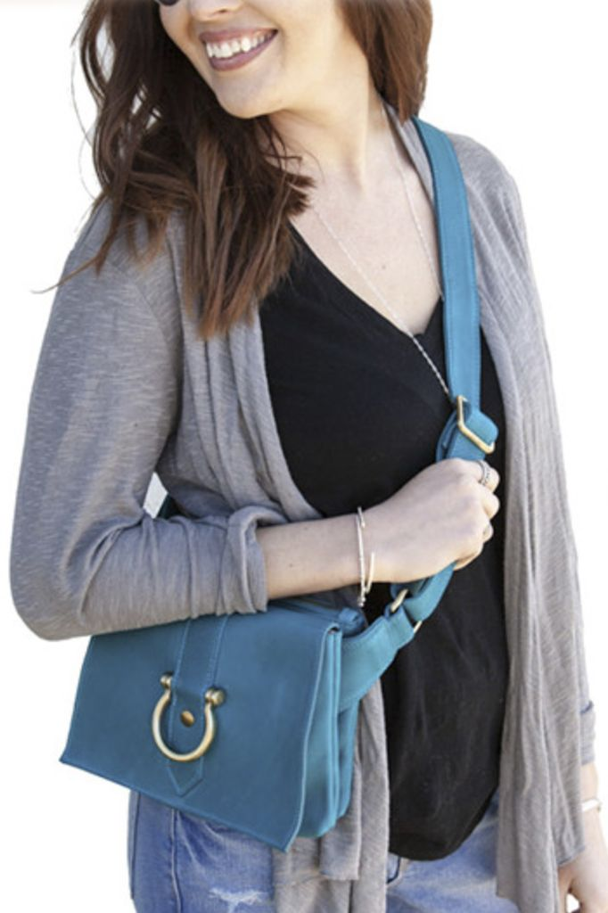 Sapahn Leather Sarah Ann Crossbody In Turquoise Shady