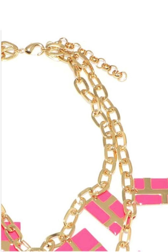 Gold with Hot Pink Enamel Charm Necklace