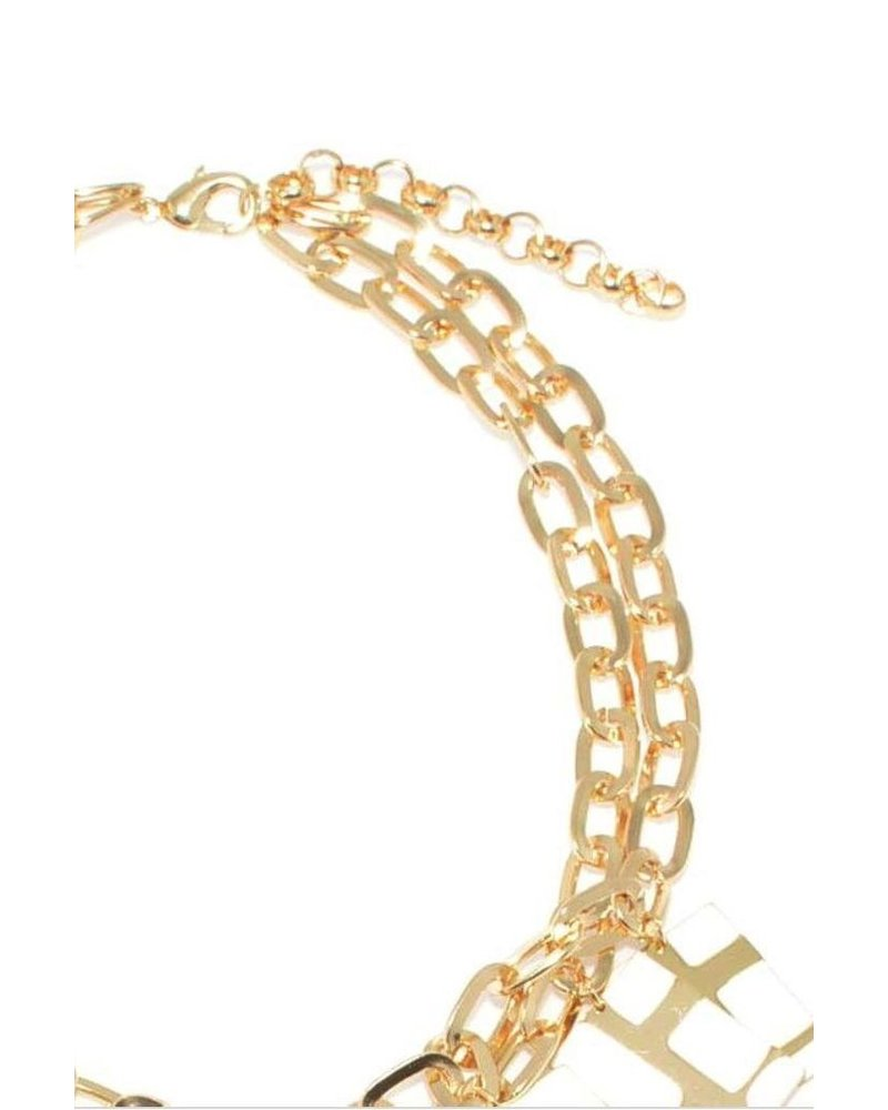 Gold with White Enamel Charm Necklace