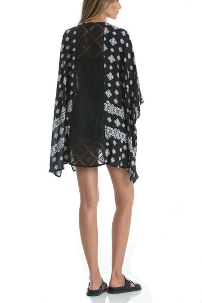 The Throw On Short Kimono In Black & White