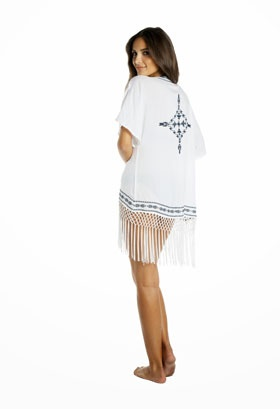 Our Embroidered Fringed Kimono In White