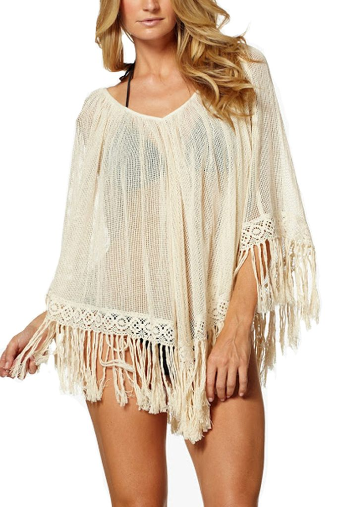 Fringed Poncho In Natural