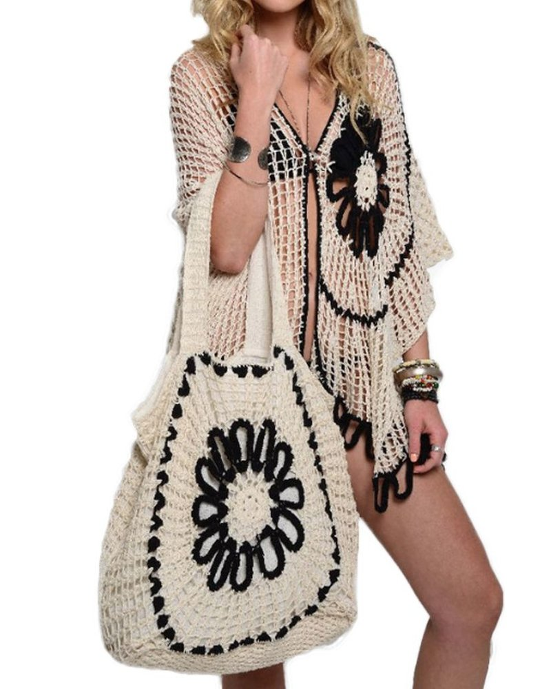 The Frida Crochet Stole In Natural & Black