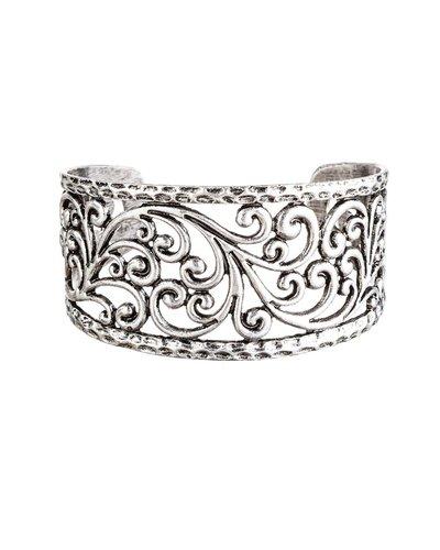 Antiqued Swirl Cuff In Silver
