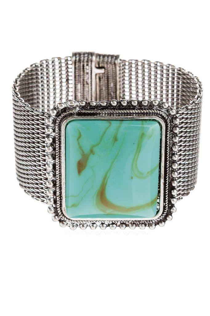 Large Square Stone Bracelet In Turquoise