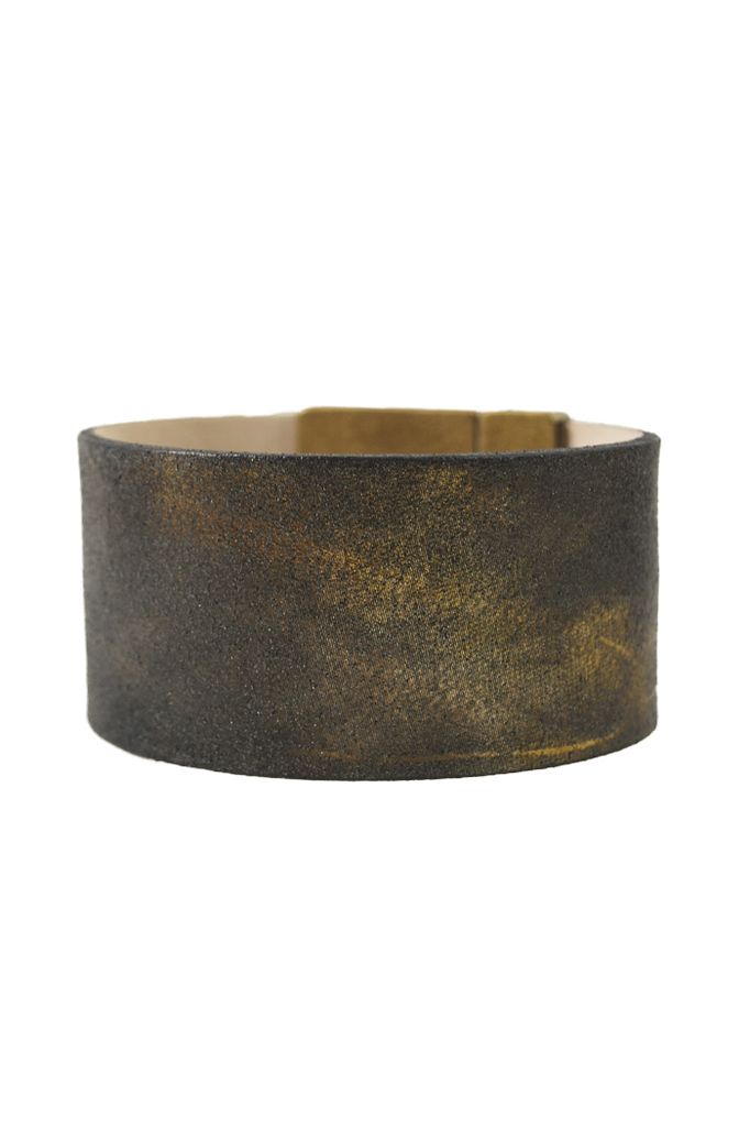 Antique Gold Leather And Brass Bracelet
