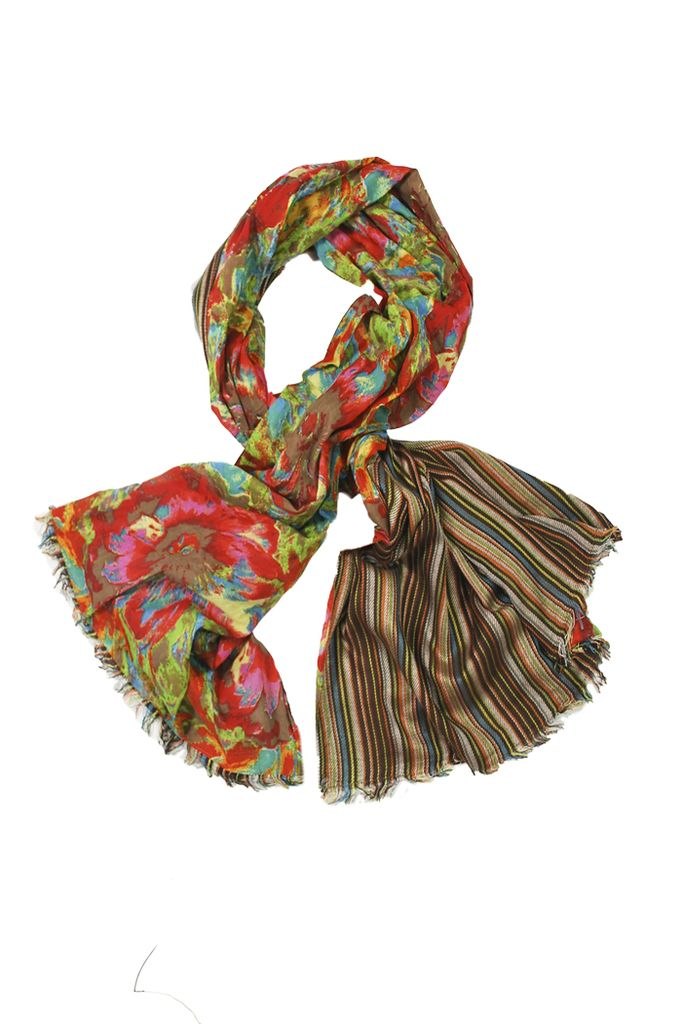 Double Floral Scarf In Brown