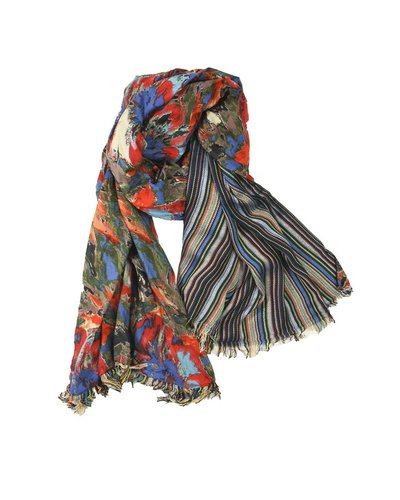 Double Floral Scarf In Blue & Reds
