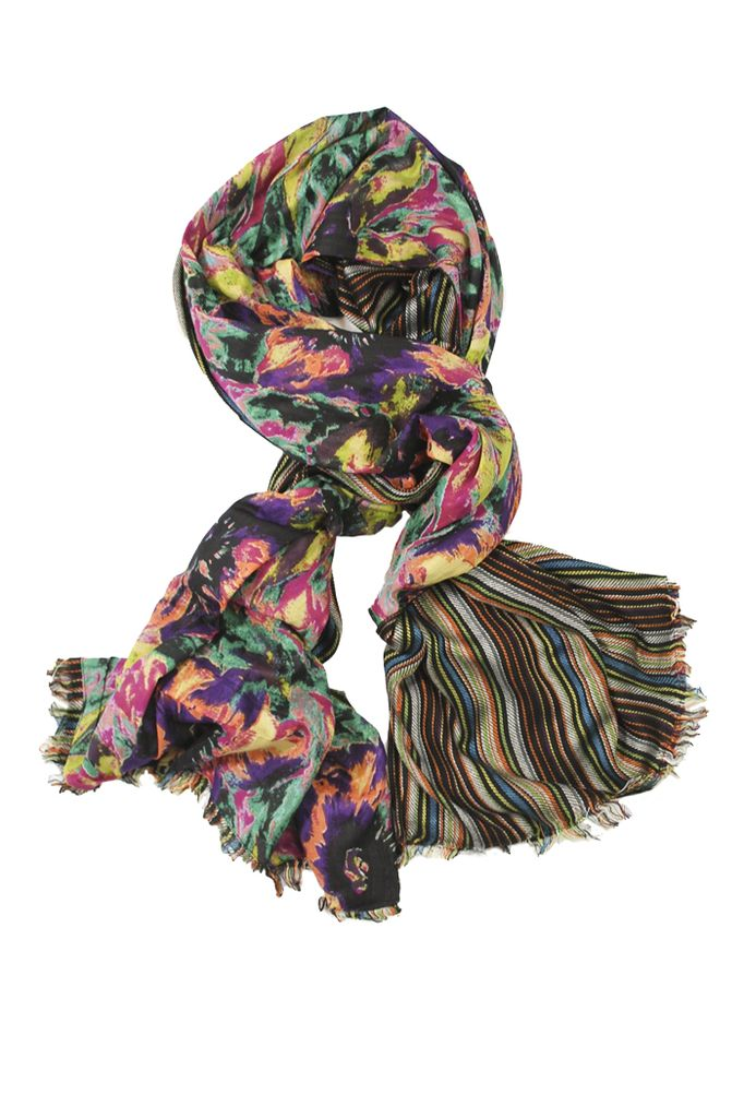 Double Floral Scarf In Black