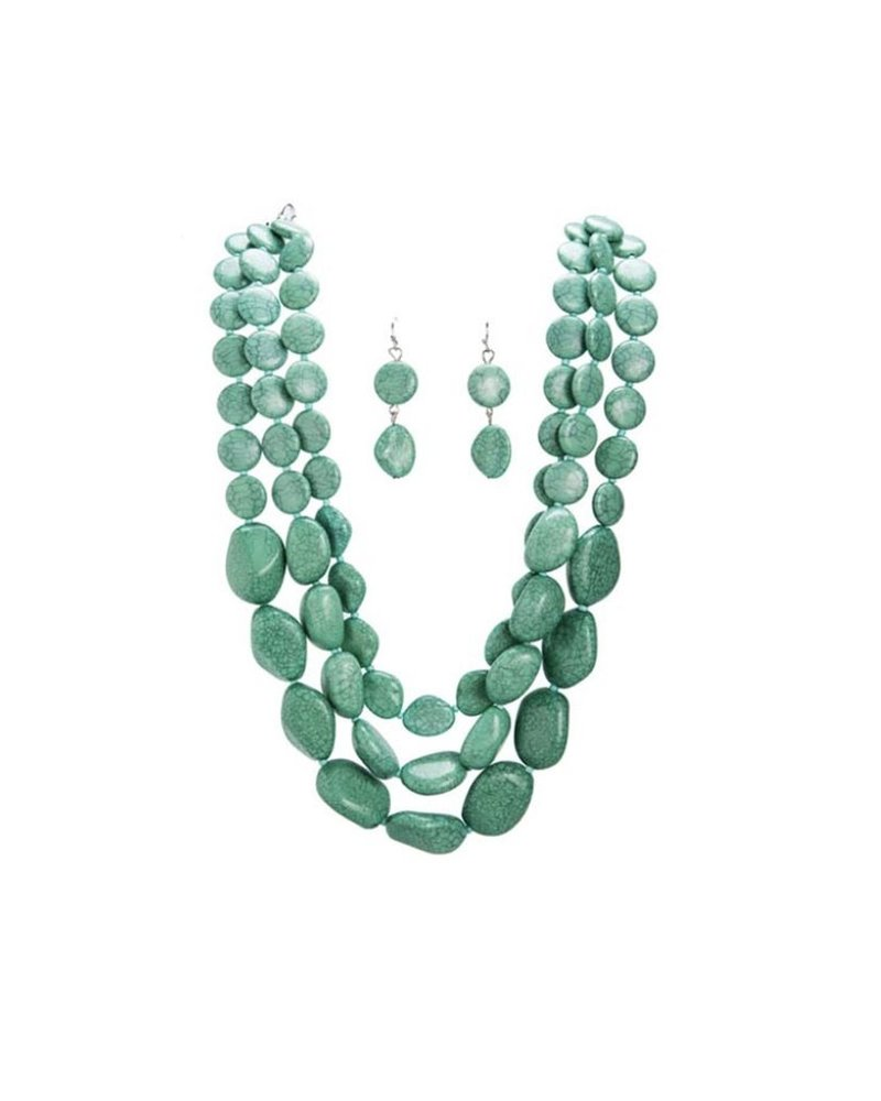 Polished Faux Stone Necklace In Turquoise Set