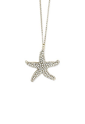 Crystal/Faux Pearl Starfish Necklace