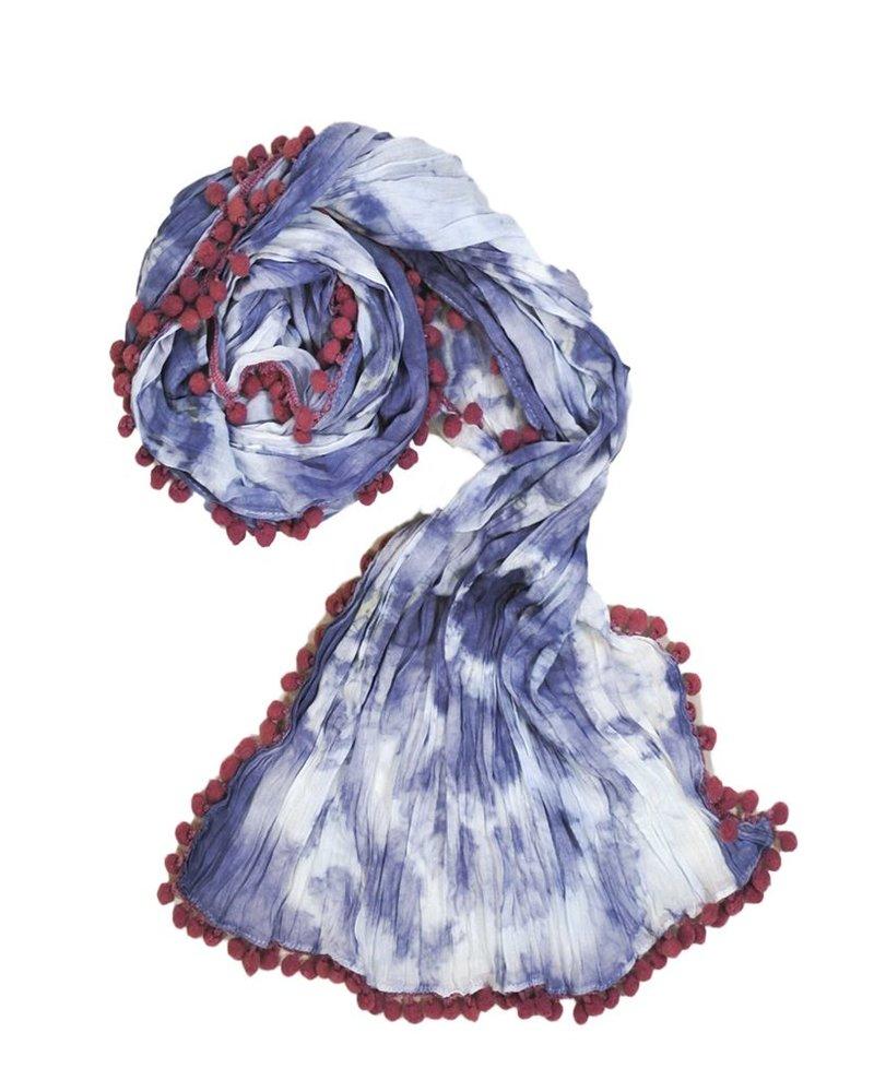 The Pom Pom Tye-Dye Scarf In Blue & White