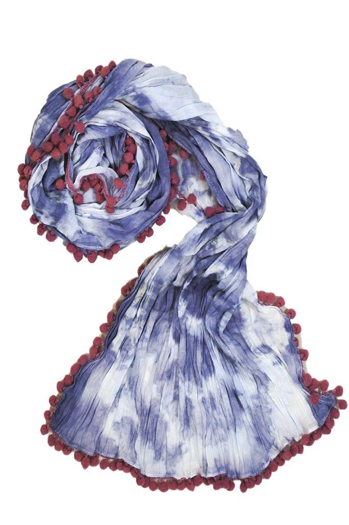 The Pom Pom Tye0Dye Scarf In Blue & White