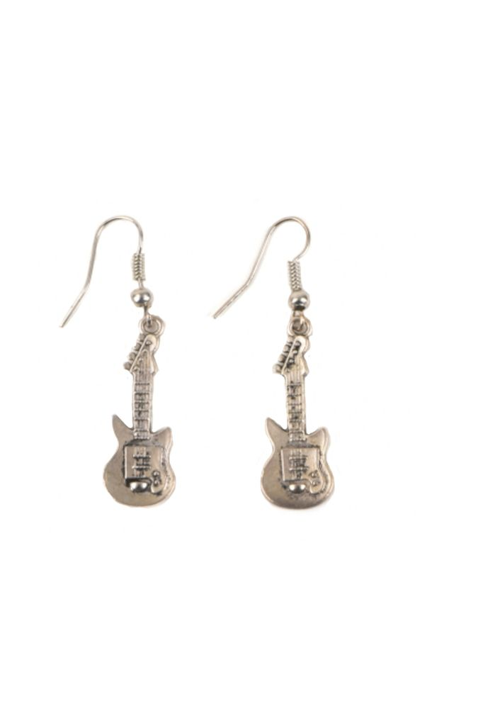 Guitar Earrings In Silver