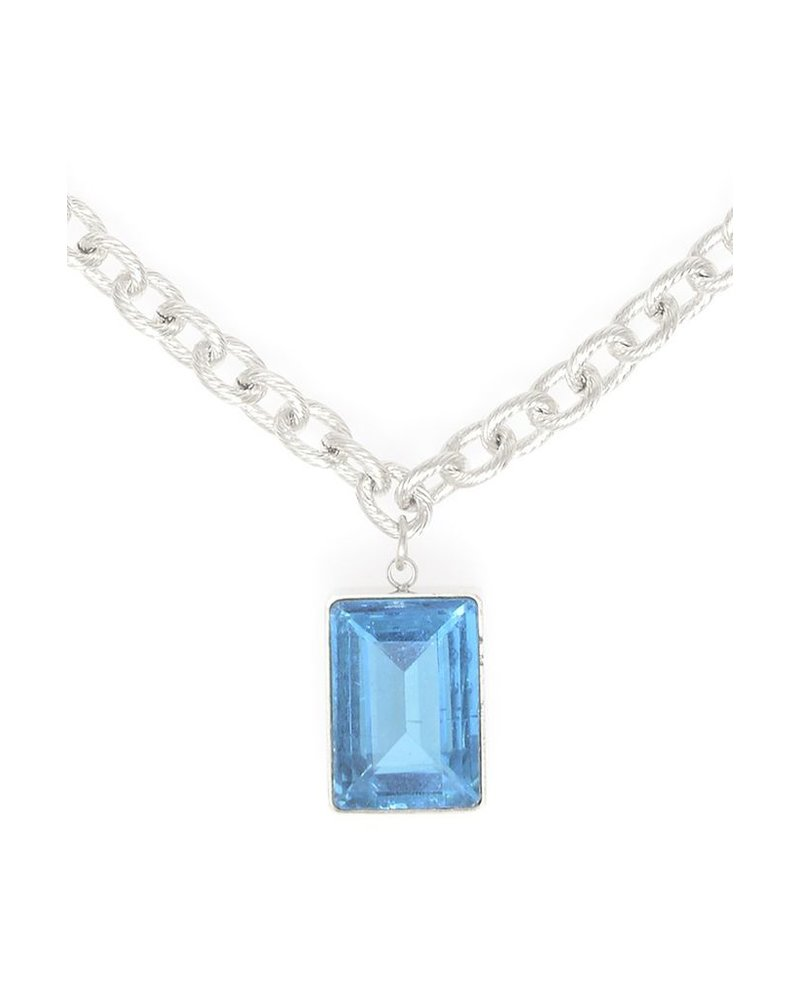 Rectangle Gemstone Charm Necklace