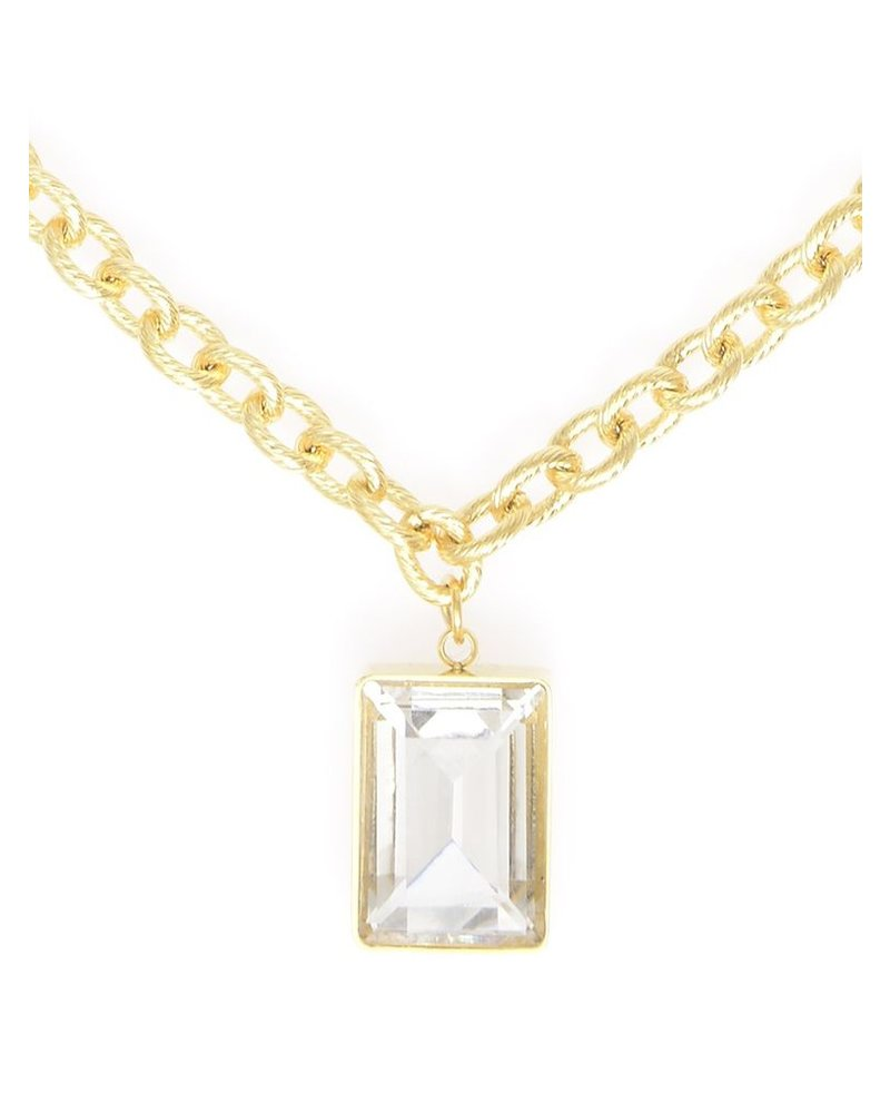 Rectangle Clear Gemstone Charm Necklace