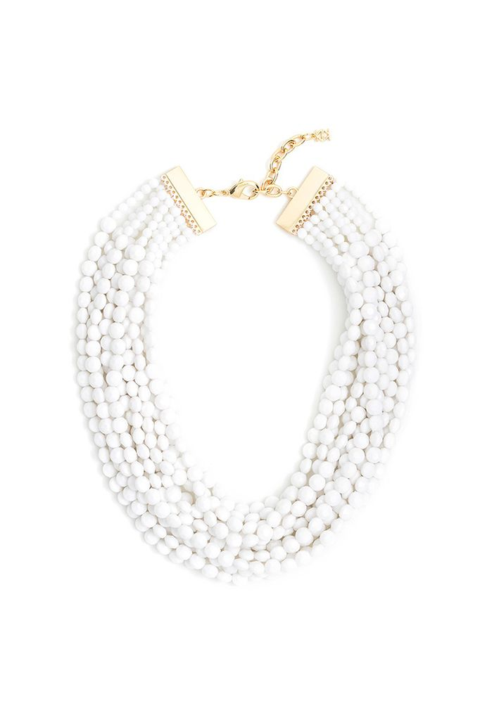 Beaded Bib Necklace In White