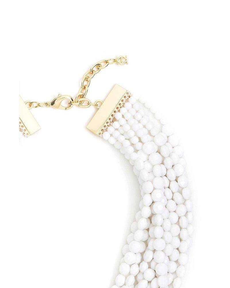 Beaded Bib Necklace In White