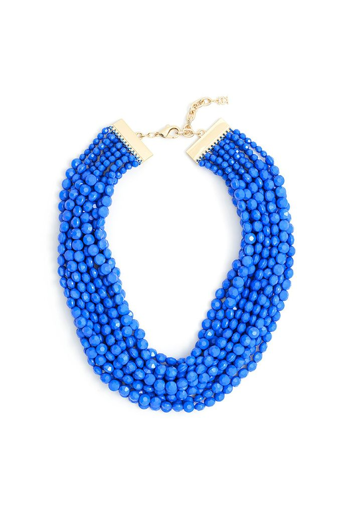 Beaded Bib Necklace In Colbalt