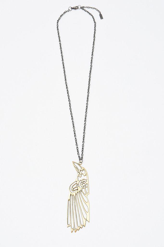 Elohi Brass Raven Necklace