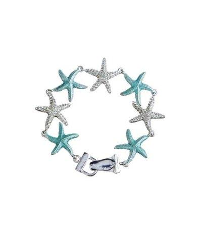 Aqua & Silver Starfish Bracelet