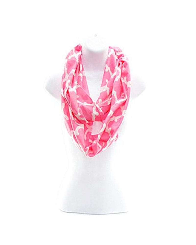 Pink & White Cotton Infinity Scarf
