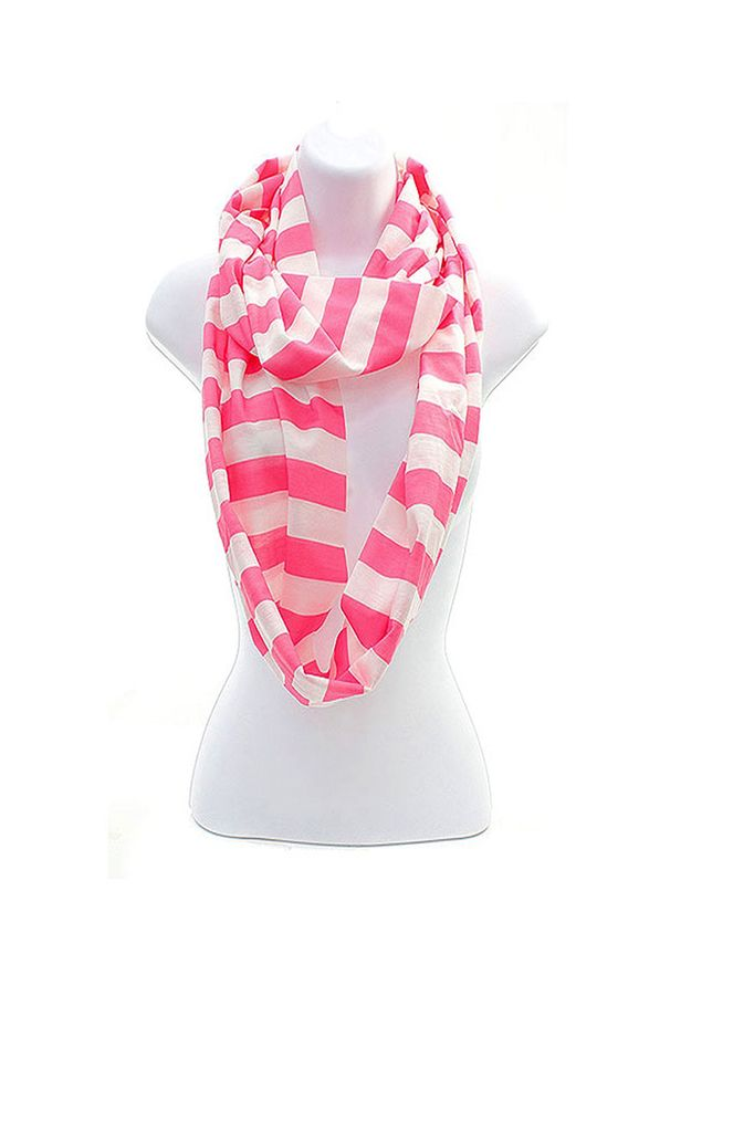 Pink Stripe Cotton Infinity Scarf