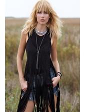 Macrame Open Tank Vest In Black