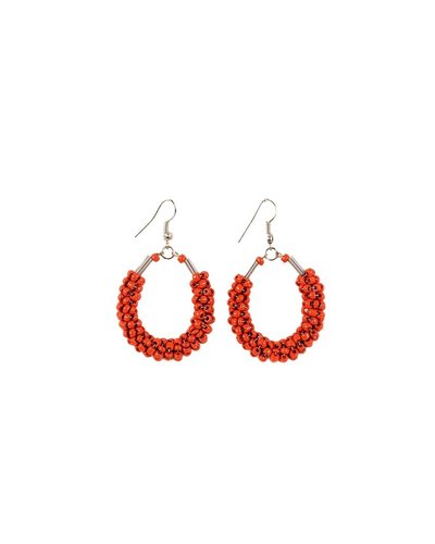 Seed Bead Teardrop Earrings In Red