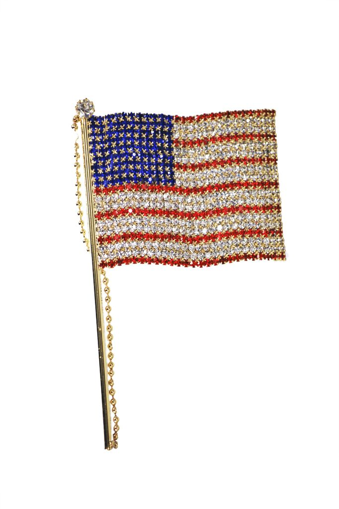 Gold Jeweled Flag Pin