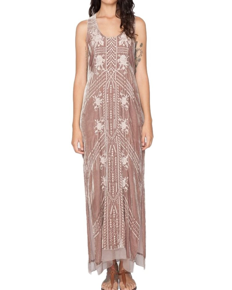 Johnny Was Kalya Velvet Maxi Flounce Dress In Antique Rose