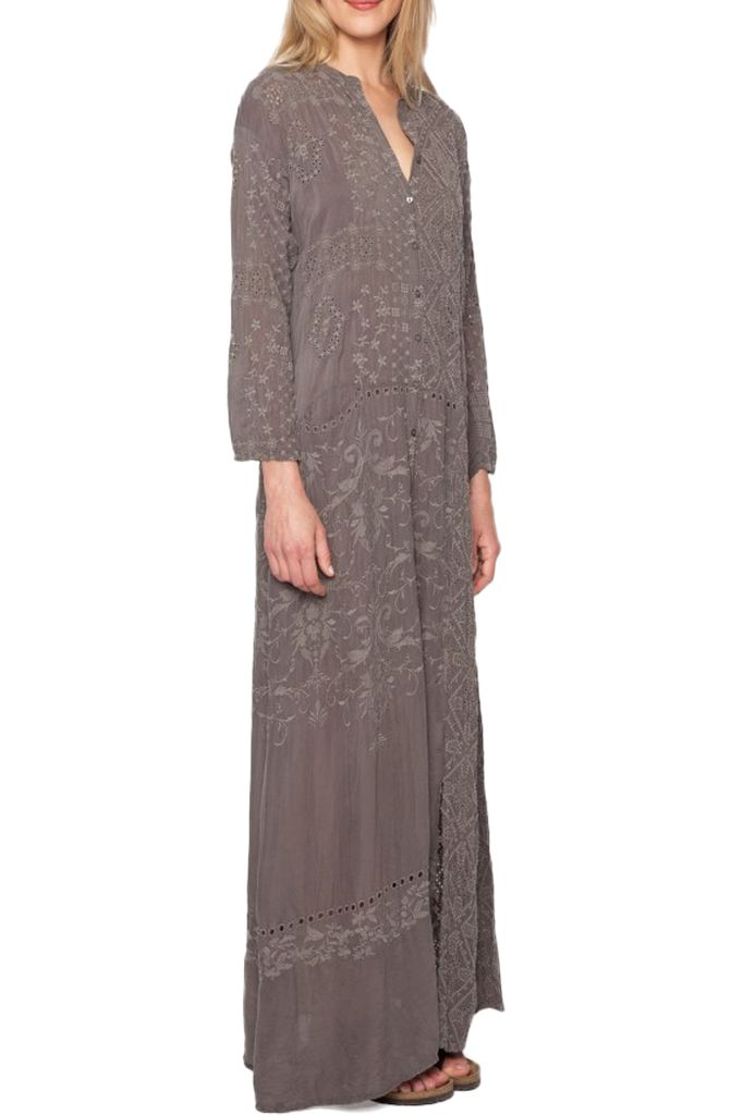 Johnny Was Patchy Mandarin Dress In Mauve