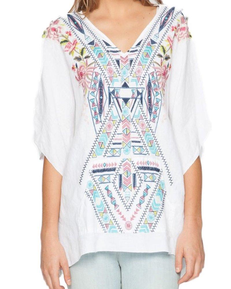 Johnny Was Timony Linen Pocket Poncho In White